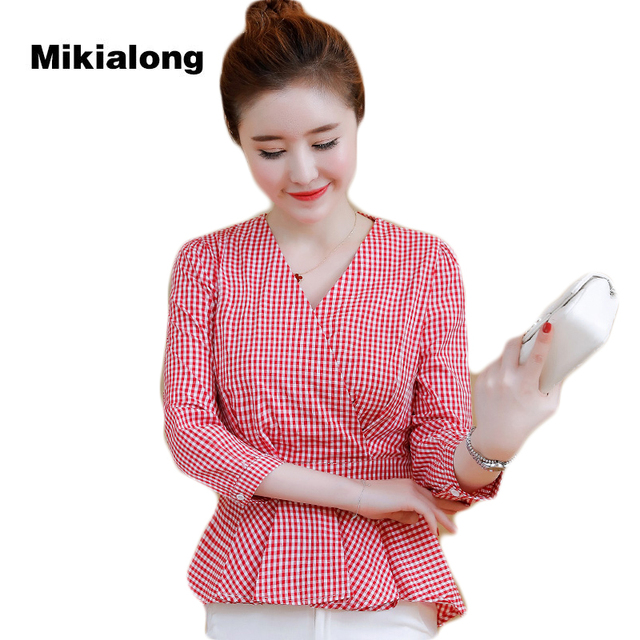 Mikialong 2017 Sexy V-neck Plaid Shirt Women Peplum Top Autumn Long Sleeve  Blouse Women Wear To Work Ladies Office Shirt Blusa 715ad3b6ae