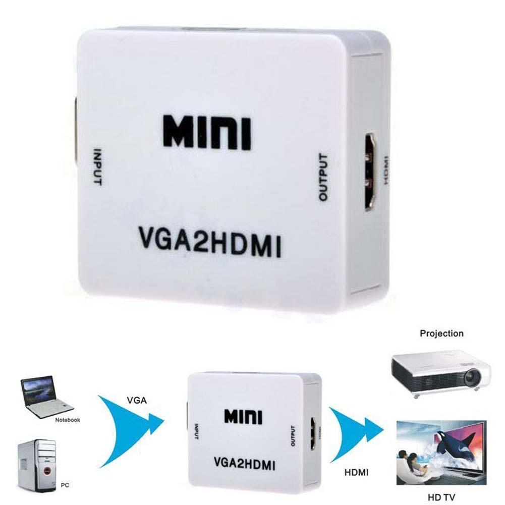New Cute Mini HD 1080P Audio VGA To HDMI HD HDTV Video Converter Box Adapter With HDMI Cable For PC Laptop to HDTV Projector mool 1080p audio vga to hdmi hd hdtv video converter box adapter for pc laptop dvd