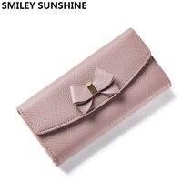 Cute Women Long Wallets Female Hasp Bow Card Wallets Girls Wallet Purses Design Brand Money Purse