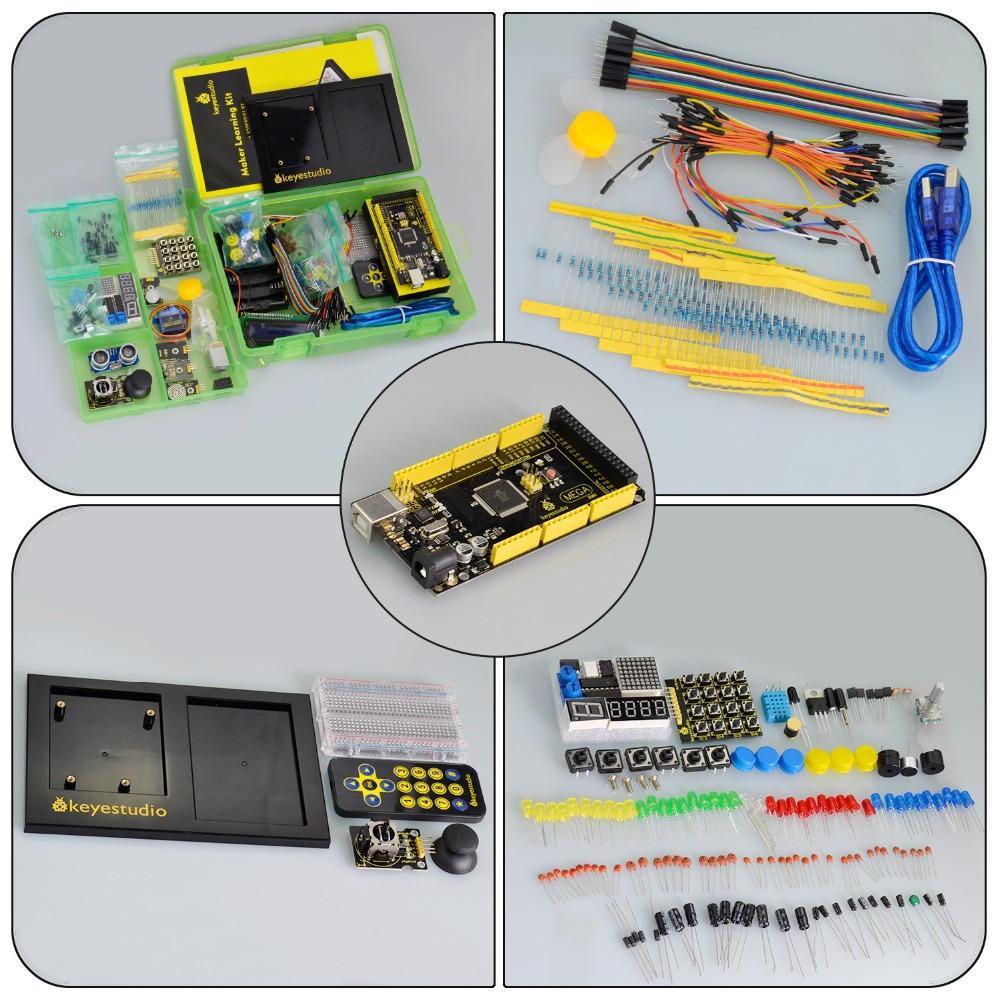 Image 4 - Keyestudio Maker Starter Kit(MEGA 2560 R3)For Arduino Project W/Gift Box+User Manual+1602LCD+Chassis+PDF(online)+35Project+Video-in Integrated Circuits from Electronic Components & Supplies