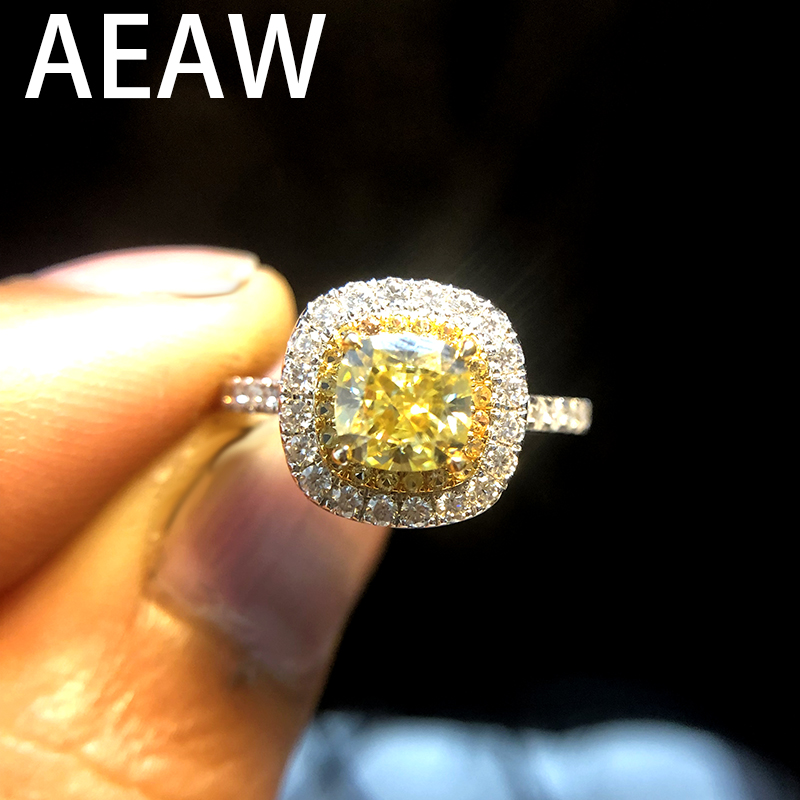 AEAW Solid 14K White Gold Luxury 1ct Yellow Moissanite Engagement Ring Wedding Moissanite Enternity Diamond Band