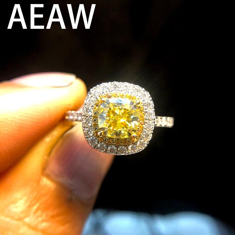AEAW Solide 14 K Weiß Gold Luxus 1ct Gelb Moissanite Engagement Ring Hochzeit Moissanite Enternity Diamant Band Für Frauen-in Ringe aus Schmuck und Accessoires bei  Gruppe 1