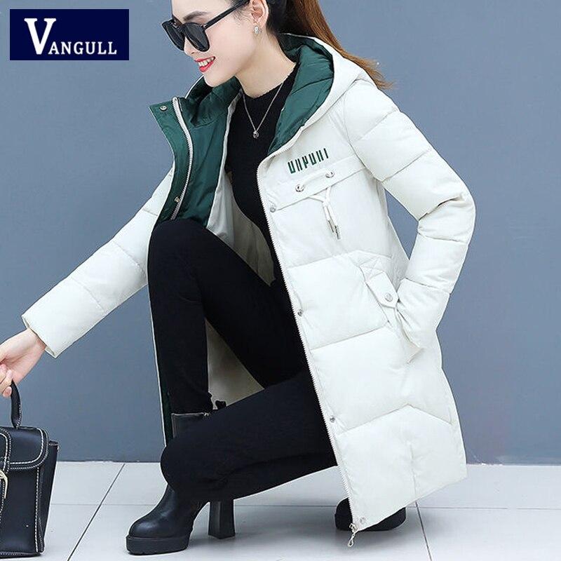 Vangull Winter Women   Parkas   Casual Long Sleeve Hooded Jackets 2019 Autumn Warm Letter Print Long Female Coats Zipper Outerwear