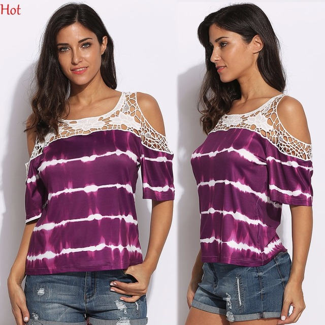 a3b99da83930 New Purple Off Shoulder Blouse Short Sleeve Hollow Out Lace Patchwork  Stripe Tops Ladies Clothing Summer