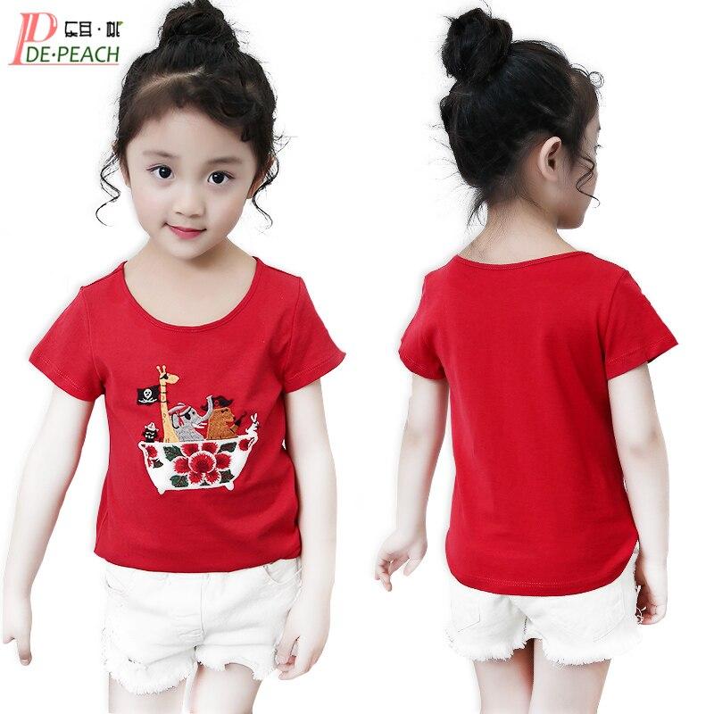 Anime T-shirts Girls Summer Casual Tees Girl Fashion tShirt childrens Embroidery T-shirt Children Clothing Girls Solid t shirt