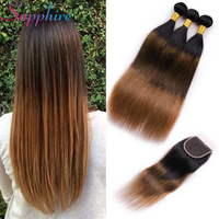 Sapphire Ombre Peruvian Human Hair Straight Bundles With Free Pat Lace Closure 100% Remy Human Hair TB/4/30 Weave 3 Bundles