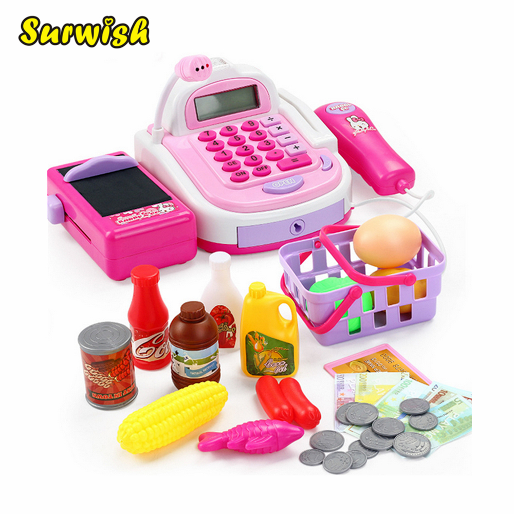 Surwish Kids Plastic Cash Register Cashier Pretend & Play Children Early Educational Toy with Shopping Basket