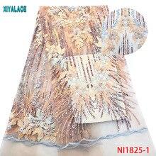 Африканская кружевная ткань с блестками, кружевная ткань, вышитая бисером, нигерийская талевая кружевная ткань свадебная ткань, Высококачественная французская Тюлевая YANI1825-1