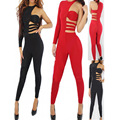 New Fashion Sexy Black Club Rompers Women Red Jumpsuit 2 Colors Body Glove O Neck Long Sleeves Catsuit Long Hole Jumpsuit