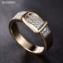 BUDONG Rings for Women Valentine Present Fashion Spiral CZ Crystal Gold Color Mid Ring Cubic Zirconia Wedding Jewelry XUR605