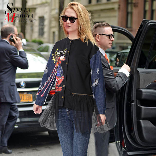 2018 european women top black blouse with mesh stitched denim sleeve
