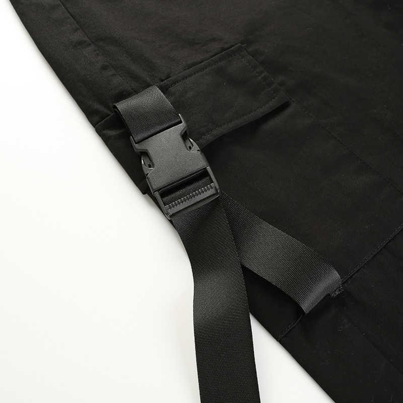 HEYounGIRL Streetwear Cargo Pants mujer Casual Joggers negro de alta cintura suelta Mujer Pantalones estilo coreano señoras pantalones Capri