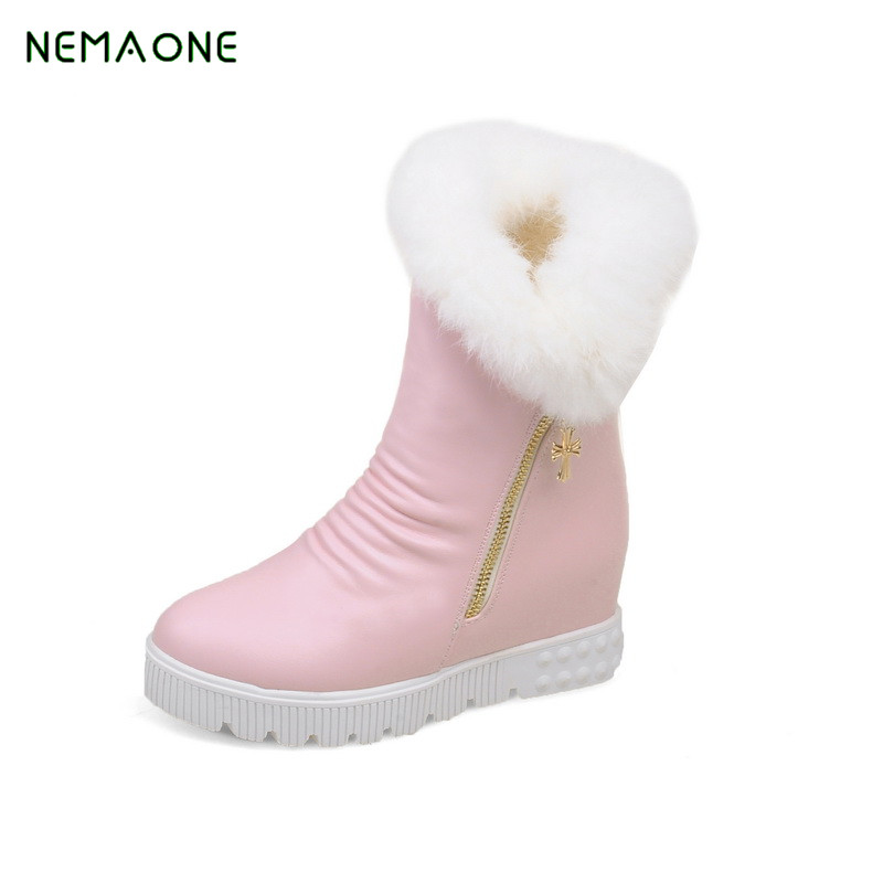 NEMAONE Hot Sale Shoes Women Boots Solid Slip-On Soft Cute Women Snow Boots Round Toe Flat with Winter Fur Ankle Boots 2017 new arrival hot sale women boots solid bowtie slip on soft cute women snow boots round toe flat with winter shoes wsz31