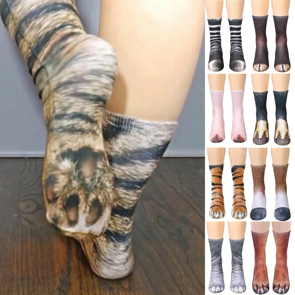 3D Print Animal Foot Hoof Paw Feet Crew   Socks   Adult Digital Simulation   Socks   Unisex Tiger Dog Cat   Sock