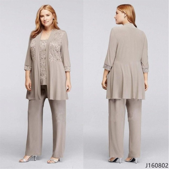 Elegant Mother of the Bride Pant Suits with Jacket Lace Chiffon ...