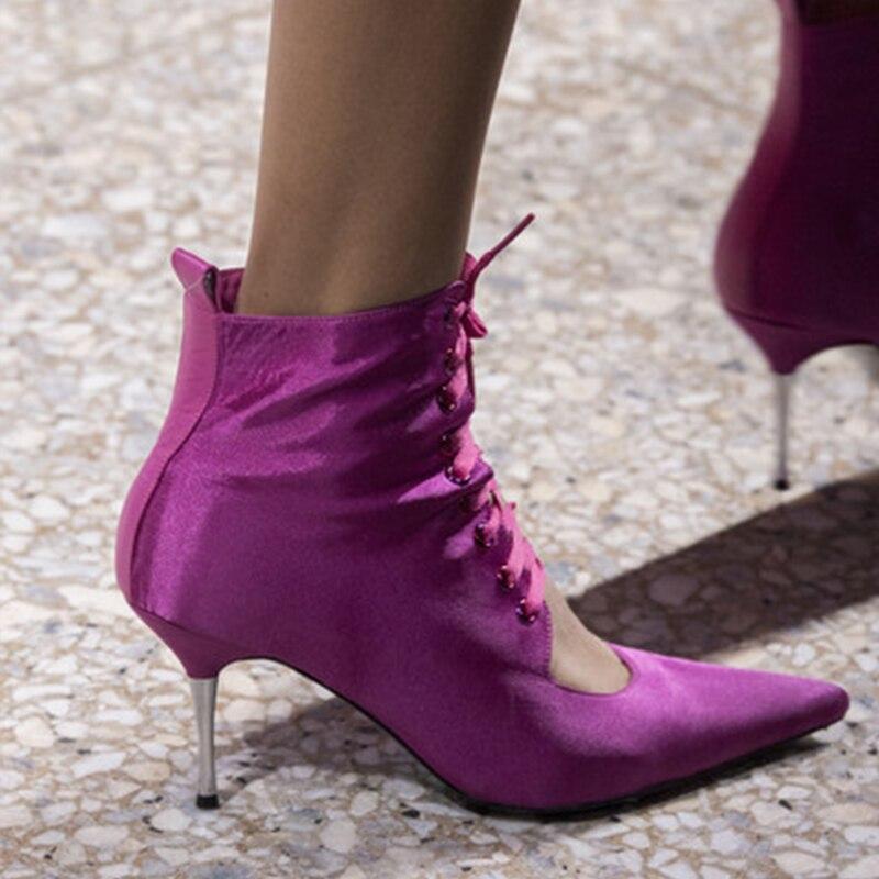 Ayakk.'ten Ayak Bileği Çizmeler'de Silla Cetveller 2019 pist metal ince topuklu yaz çizmeler kadın ipek perçin ayak bileği bağcığı çizmeler kadın sivri burun çatlak ayak botları'da  Grup 3