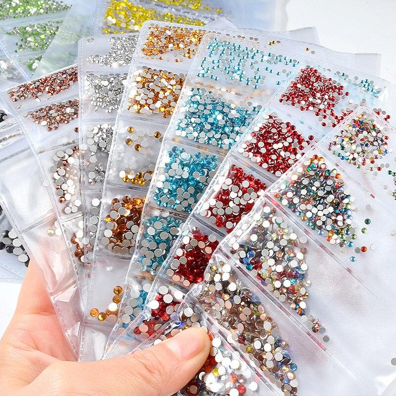 1340pcs/pack Mixed SS4-SS16 Nail Rhinestones Crystal Colorfu
