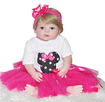 """22"""" Reborn babies dolls full body silicone reborn baby doll for children birthday gift  with pacifier  bebe alive reborn bonecas"""