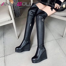 купить ANNYMOLI Winter Over the Knee Boots Women Genuine Leather Platform Wedge Heel Thigh High Boots Zipper Super High Heel Shoes Lady дешево