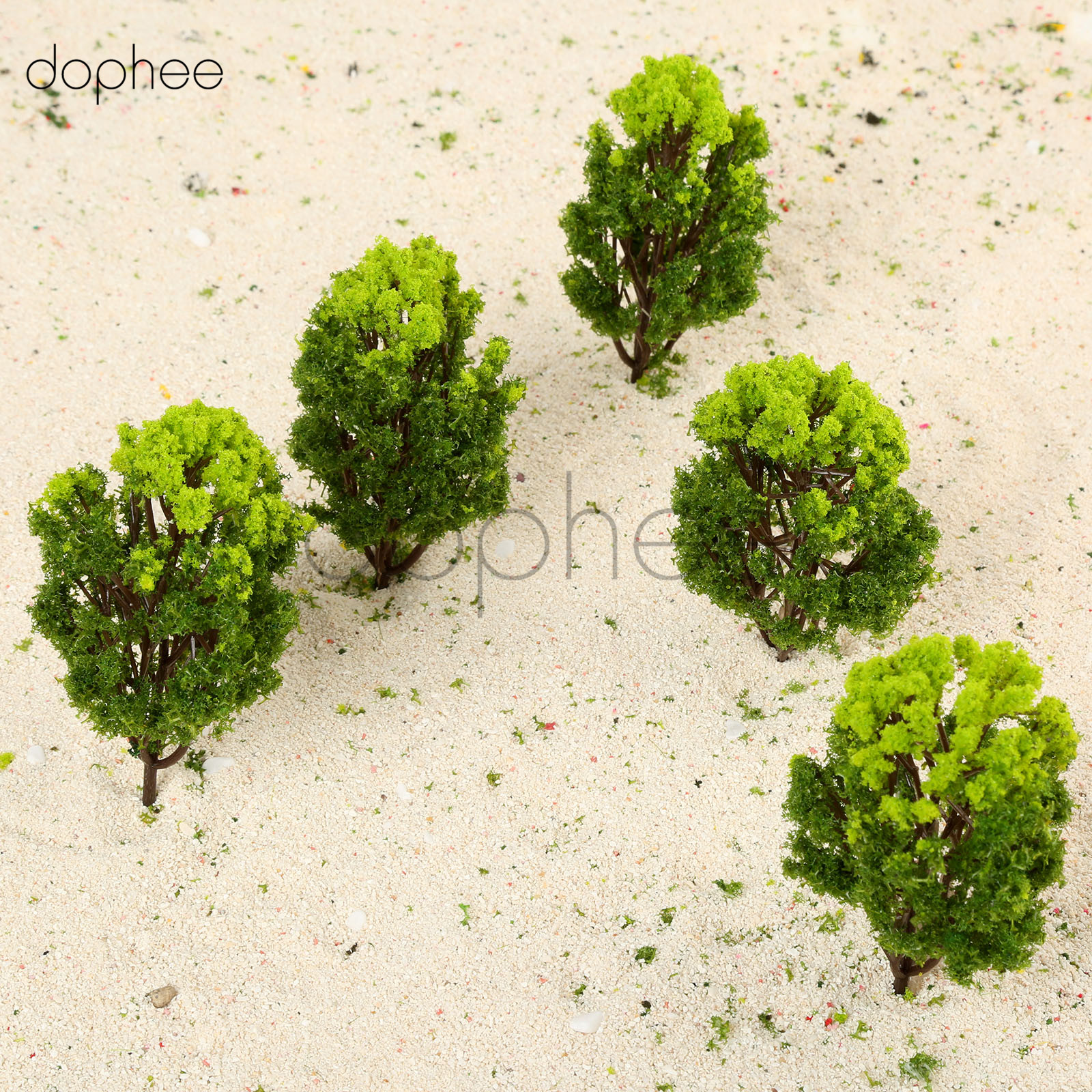 dophee 10pcs Plastic Model Trees Ho Scale 10cm Green Model Railway Park Scene Landscape