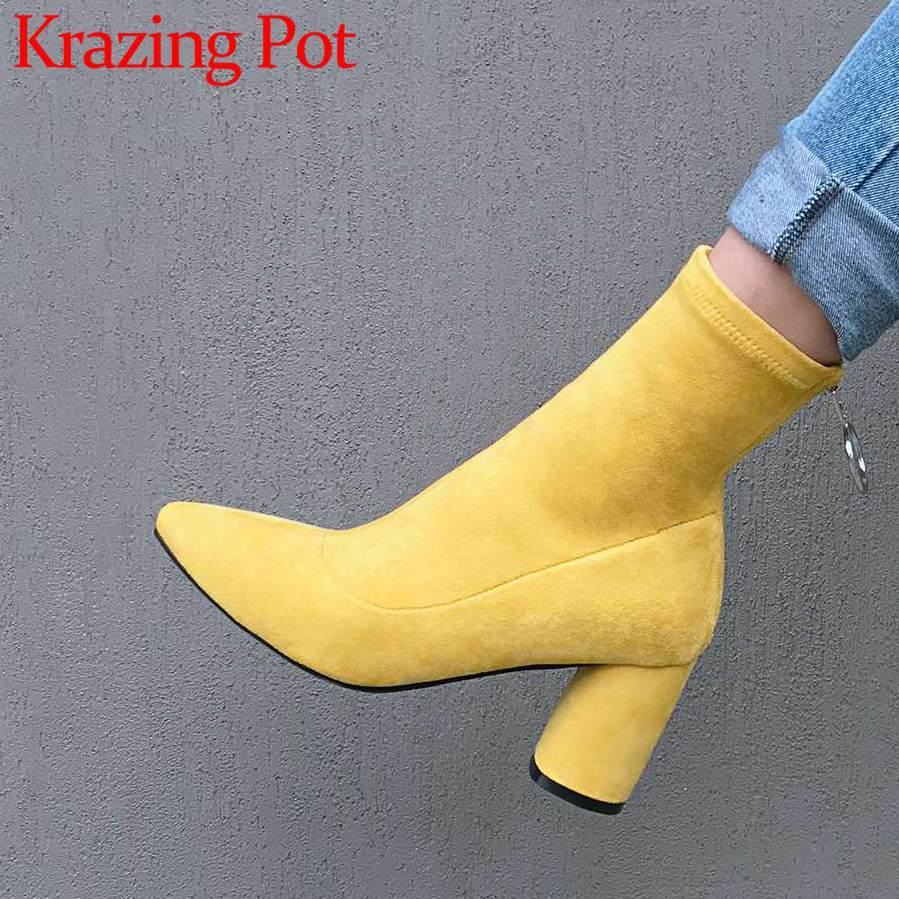 2018 high quality metal ring flock thick high heels pointed toe zipper handmade concise style black