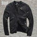 Capa de la chaqueta de los hombres de cuero genuino negro 100% chaquetas de la motocicleta chaqueta de moto de piel de oveja hombre veste cuir homme cappotto lt970