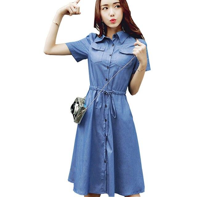 15c7f8829ed Платье из джинсовой ткани Новые Мода строки рубашка Джинсовое платье миди  синие женские элегантные XXl хлопок