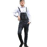 MORUANCLE Men's Jeans Bib Overalls Vintage Denim Jumpsuits For Male Fashion Suspender Pants Size 28 40 Washed Blue