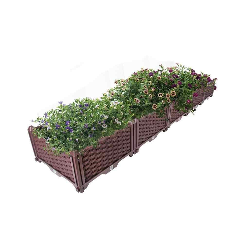 Garden Indoor Outdoor Plastic Planter Grow Box for Vegetables Flowers Succulents  Patio Yard BrownHP00-1/2/3/4