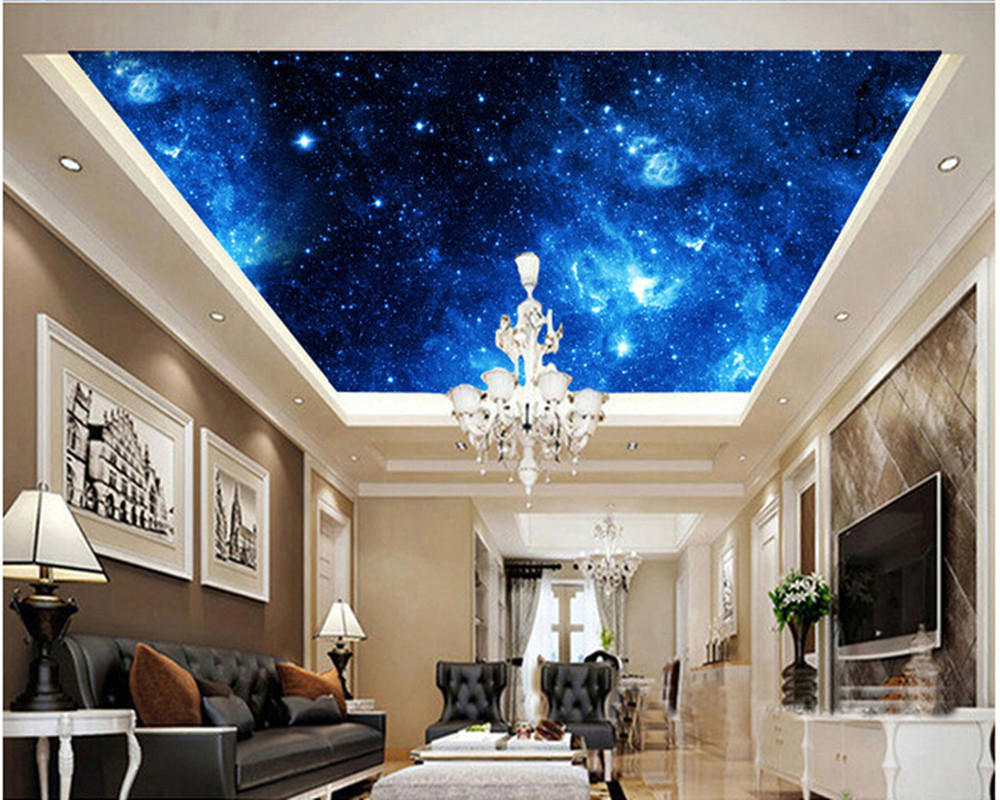 Custom ceiling wallpaper, the universe is used to the living room bedroom ceiling wall vinyl wallpaper papel de parede custom ceiling wallpaper blue sky and white clouds landscape murals for the living room bedroom ceiling wall papel de parede