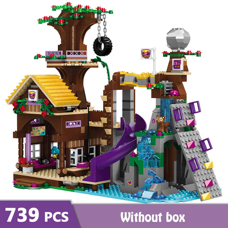 739pcs Girls Friends Adventure Camp Tree House Model Building Blocks Girls Bricks Figures Kid Toys GB04