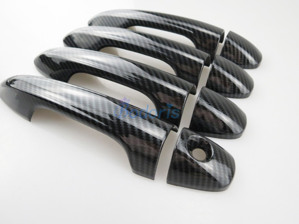 Carbon Fiber Color Door Handle Cover Trim Overlay Panel Car Styling 2014 2015 2016 2017 <font><b>2018</b></font> For <font><b>Toyota</b></font> <font><b>RAV4</b></font> <font><b>Accessories</b></font> image