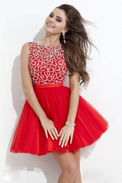 New 2016 Beading Short Red Homecoming Dresses Mini Graduation Dresses for Grade  8 Sweet 16 Dress 426d8e984058