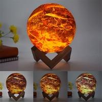 Thrisdar Remote Control 16 Color Flame Design 3D Moon Lamp LED Night Light Creative Gift Bedroom Bedside USB Charging Moon Lamps