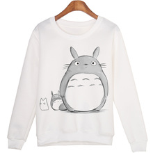 Beautiful Girl And Totoro Pattern Print Loose Round Neck Long-sleeved Sweatshirt Couple Pullover Spring Women's Clothing Bts