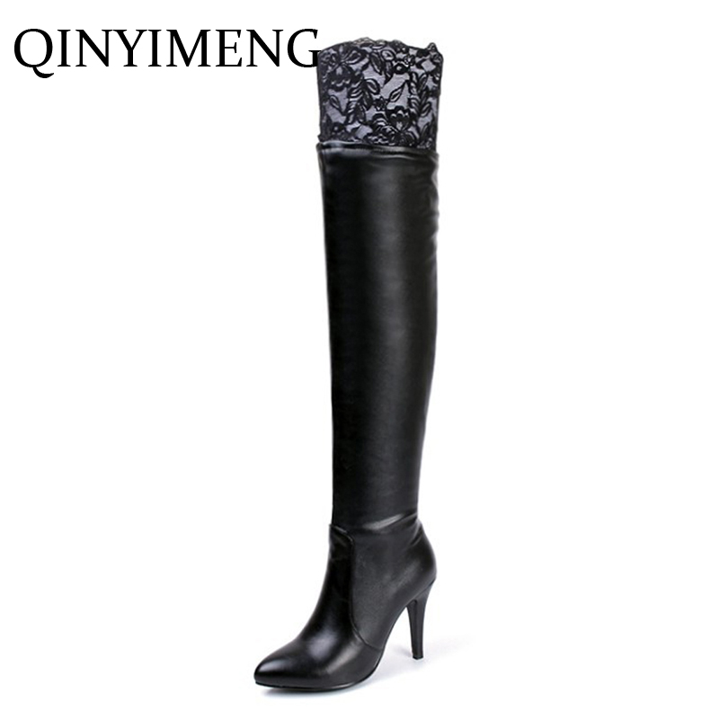 NEW White Thigh Boots Big Size Winter Over The Knee Boots With Lace Sexy High Heels Women Leather Boot Pointed Toe Pumps Booties in the new winter boots sexy 2016 meters white hollow pointed red bottom short boots sm70887bt k1