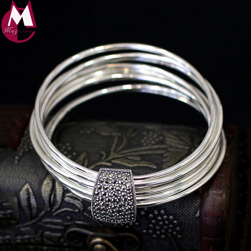 Original Design Handmade 9 Silver Round Charm Bangle 100 Real Silver 925 Sterling Bracelet For Women