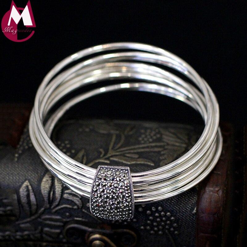 Diseño Original hecho a mano 9 brazalete redondo de plata 100% pulsera de plata Real de Ley 925 para mujer joyería de geometría SB27-in Pulseras y brazaletes from Joyería y accesorios    1