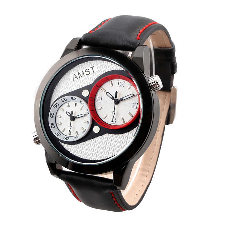 AMST Brand Elegant Retro Men Casual Watch Military Style Dual Time Zones Genuine Leather Quartz Digital