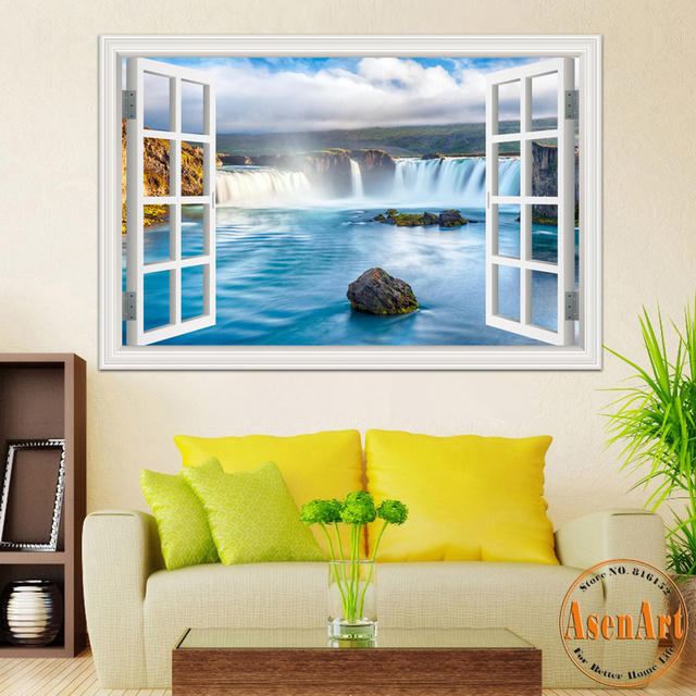 3D Window View Wall Sticker Decal Sticker Home Decor Living Room Nature Landscape Decal Waterfall Mural Wallpaper Wall Art