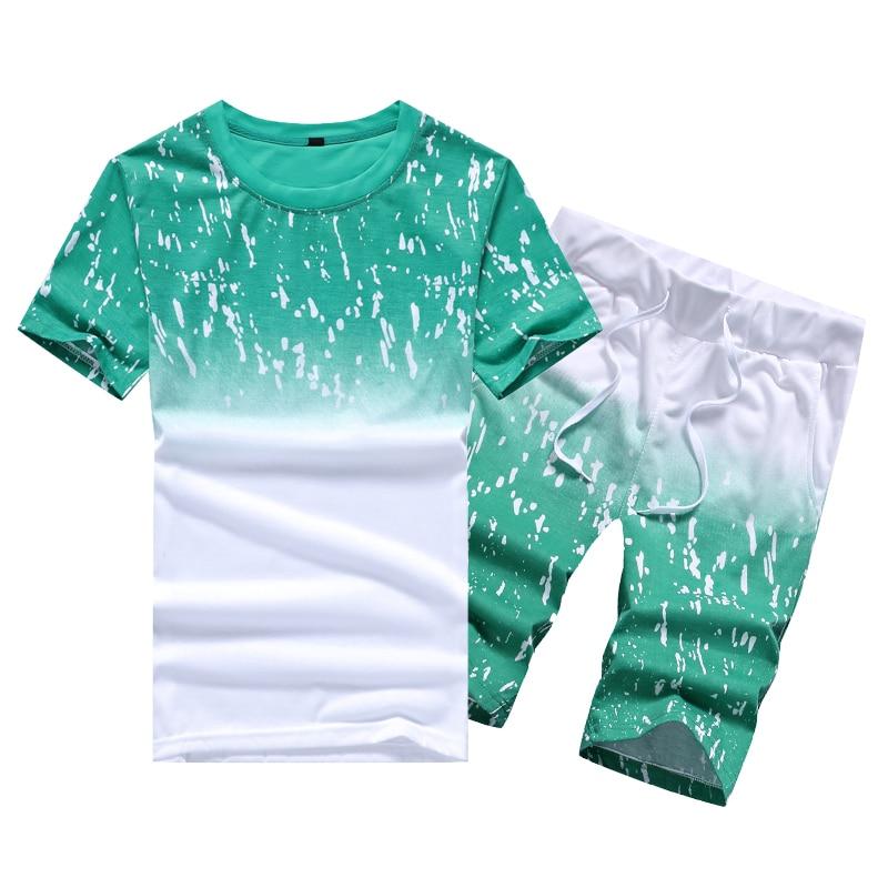 Tracksuit Men Casual Summer Men's Set Mens Floral T-Shirt + Print Beach Shorts Shirts Shorts Pants Two Piece Suit Plus Size 4XL