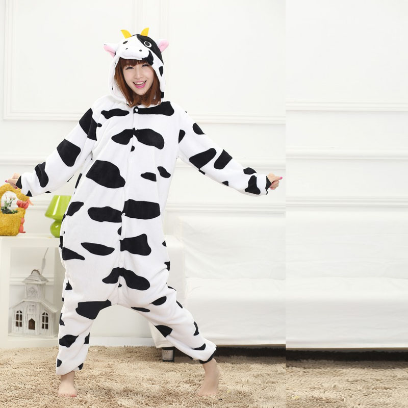 Women Cow Pajamas Customes Adult Loose Dairy Cattle Sleepwear for Animal Party