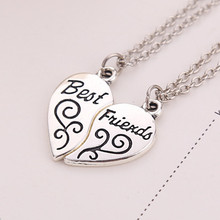 2016 Hot Christmas Gift Best Friends Forever BFF 2 Parts Necklace Heart Pendant Trendy Women Jewelry Friendship Gift