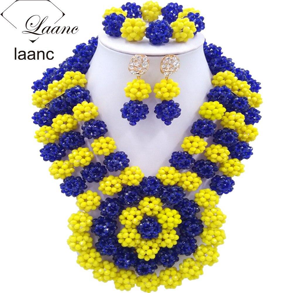 Nigerian Wedding African Beads Blue and Yellow AL025