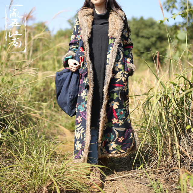 Folk Style Winter Coat Jacket  Jaqueta Feminina Fur Collar Long Dust Coat Windbreaker Trench Coat Vintage Cotton-Padded Clothes