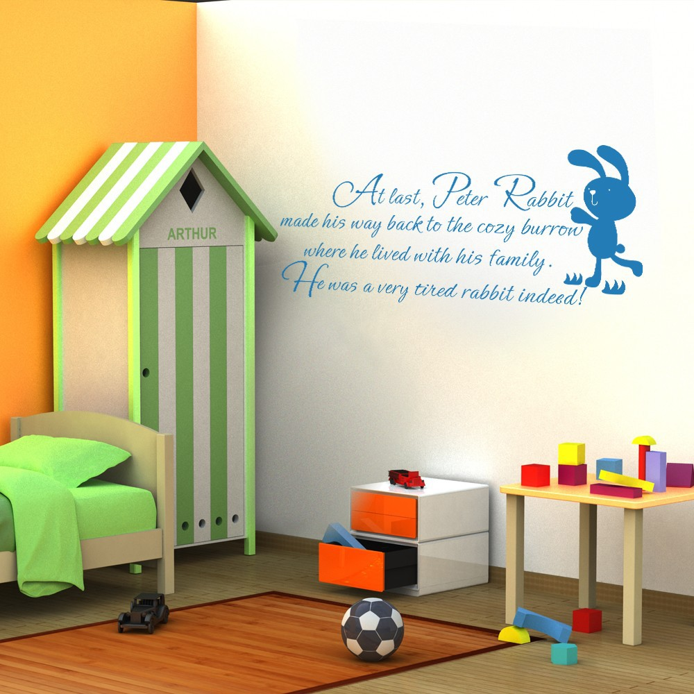 Brown,xs Baby Nursery Wall Decal Peter Rabbit Wall Sticker Vinyl Lettering Wall Art Quote