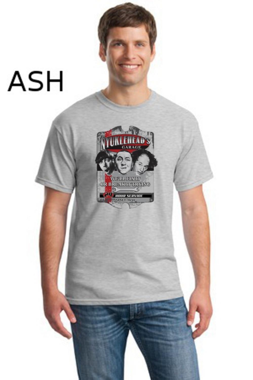 T-Shirt Men 2019 New Print Men T Shirt Summer Three Stooges Funny Nyucklehead Garage Larry Moe Curley T Shirt Transfers