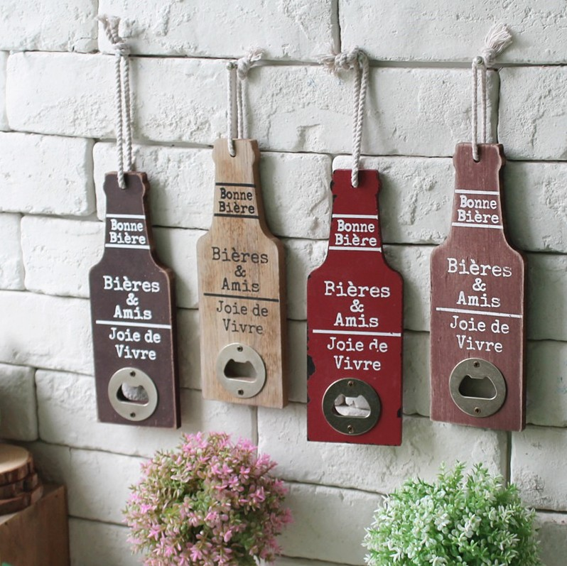 Vintage American Country Wall Mounted Bottle Opener Bar Cafe Supply Openers Gadget Wall Decors Multi Functions Key Organizer