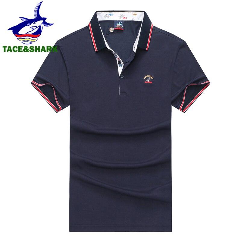TACE&SHARK High Quality Polo Shirt Men Casual & Business Men Polo Brand Polo Shirt Homme 3D Embroidery Summer 2019 Men Clothes
