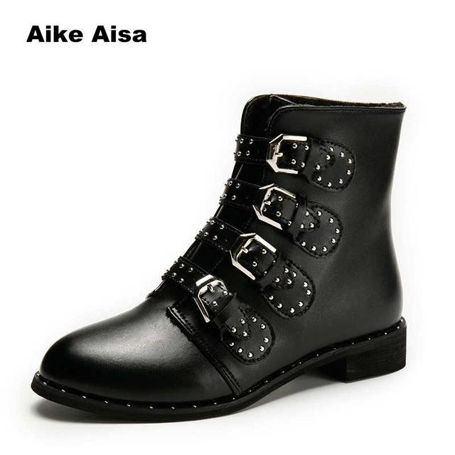 d7829d7c13ae Women Casual Flats Rivets Motorcycle Ankle Boots Shoes Pu Leather Winter  Straps Buckle Studded Warm Snow Boots High Botas Muje